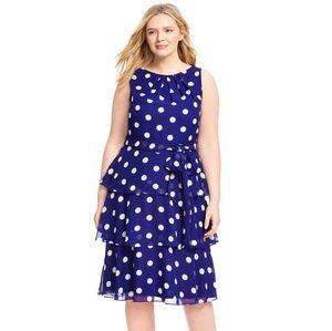 Tiered polka dot dress 18W NWT Jessica Howard